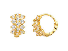 14K Yellow Gold 3 Tier CZ Huggies Earrings for Baby and Children