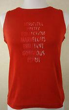 Neuw. Tolles ESPRIT Träger Shirt, Top 100% Baumwolle kaminrot mit Print Gr. M