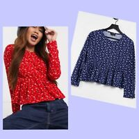 Wednesday's Girl Top Size 8 & 14 Smock Peplum Hem ditsy floral Red Or Blue GY09