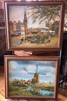 Vintage OIL PAINTINGS 2 FRAMED SIGNED WINDMILL AMSTERDAM Original Bargain