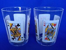 Arcoroc Poker Glasses Playing Cards ARC Set of 2 VTG Jack Queen Tumbler France