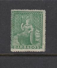 Barbados 1861 ½d Green Rough Perf 14 to 16 Mounted Mint