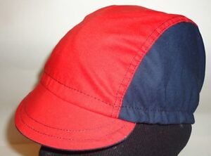 CYCLING CAP ONE SIZE HANDMADE IN USA NAVY &RED   100% COTTON