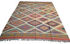 Extra Large Kilim Rug Ethnic Geometric Wool Jute Indian 240x300cm 8x10' Handmade