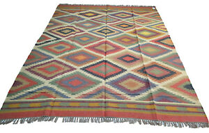 Extra Large Kilim Rug Ethnic Geometric Wool Jute Indien 240x300cm 8x10' Handmade