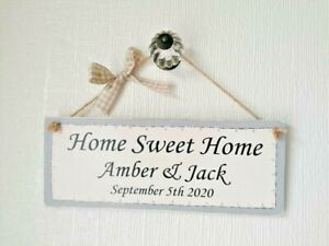 Wooden Handmade Gift Wall Hanging Plaque/Sign  - Personalised Home Sweet Home