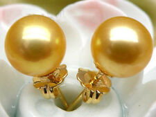 9mm AAA+++ round golden yellow south sea pearl earring stud 14k solid gold