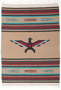 "Thunderbird Serape OBird-Tan Southwestern Afghan Throw Blanket 59""x84"""
