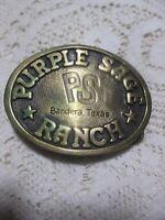 Vintage BTS Solid Brass Belt Buckle Purple Sage Ranch Bandera TX 1978 USA Made