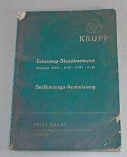 Manuale di istruzioni Krupp MOTORE DIESEL D 344/D 459/D 573/D 688 di 1956
