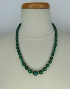 Malachite and Bead Necklace Sterling Silver Heart Clasp 23 Inch Strand