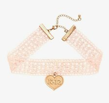 MELANIE MARTINEZ K-12 PINK LACE CHOKER Heart Pendant Necklace Crybaby NEW
