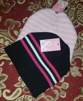 Girls One Size Black/ pink  Kids Beanie Hat 2 Colours 100% Acrylic Free P&P