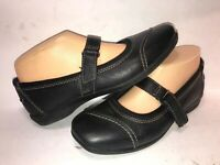CLARKS COLLECTION SZ 7 1/2 M BLACK SQUARE TOE MARY JANE WOMEN FLATS WS7-17-7