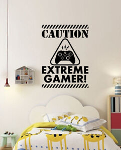 Caution Extreme Gamer Wall Stickers Gamer Vinyl X BOX Decals Kids Bedroom CG2