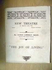 New Theatre Programme- Patrick Campbell in THE JOY OF LIVING by Herman Sudermann