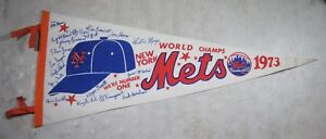 Vintage Original 1973 NY Mets World Champs Pennant New York Baseball Flag