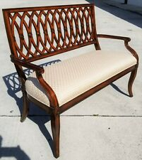 Very Nice! Maitland Smith French Provincial Upholstered Settee Bench Solid Wood