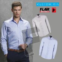 Kustom Kit Men's Long Sleeve Contrast Premium Oxford Shirt