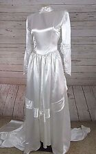 Vintage 40's 50's Satin Wedding Dress Cathedral Length Modest Long Sleeve Button