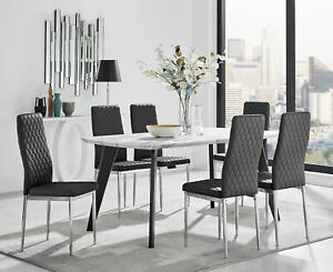 Andria Contemporary Black Leg Marble Effect Dining Table and  6 Milan Chairs