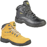 Grafters Waterproof Safety Hiker Black Honey Leather Mens Work Boots UK6-14