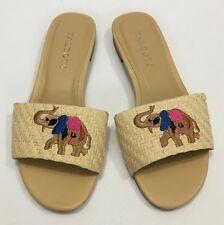 Talbots Lamar Elephant Trunk Up Beige Woven Raffia Straw Sandals Slides Size 5