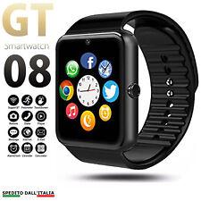 OROLOGIO TELEFONO SMARTWATCH ANDROID IOS CON SIM BLUETOOTH MICRO SD GT08 NERO