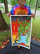 Vintage NOS Original 1970s Psychedelic Wizard Summoning Beast Wicca Poster