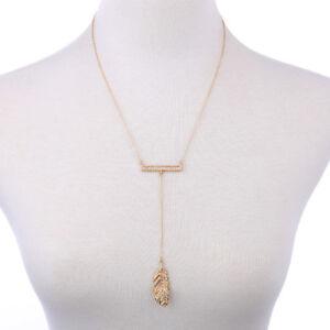 Crystal Glass Leaf Gold Tone Metal Slim Necklace Pendant