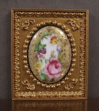 "FRAMED  FIRED  PORCELAIN  PICTURE ~ ""Floral"" ~Dollhouse ~ 1:12 scale ~ Miniature"