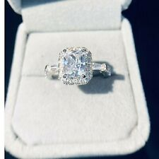 3.00 CT Diamond Halo Engagement Ring 14K White Gold Excellent Radiant Cut