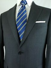 Recent Canali Charcoal Gray Wool Blue Pinstripe 2Button Canvassed Suit 40R 33x30