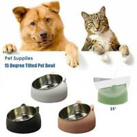 15 Degree Tilted Cat Pet Bowl Stainless Steel Puppy Cats Food Drink Water Feeder