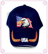 USA Eagle American Flag Patriotic Embroidered Baseball Cap Hat DK BLUE FREE SHIP