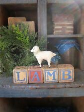 Early Antique Wood Alphabet Blocks Spell LAMB with Putz Sheep
