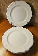 """Set of 4 Red Cliff Heirloom 11"""" Dinner Plates White Ironstone Scallop"""