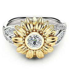 Crystal Wedding Ring for Women Fashion Cubic Zirconia Jewelry Silver Sunflower