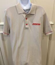 Audi Sport Logo Polo Golf Shirt Size Medium Ivory Red Trim Short Sleeves Cotton