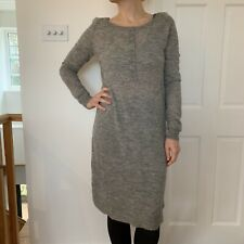 Noa Noa Wool Dress with Alpaca Soft Grey Marl M UK 12 Lightweight floaty back