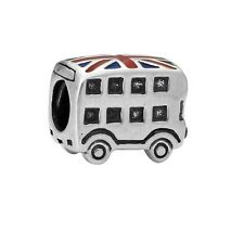 925 STERLING SILVER PLATED LONDON BUS CHARM BEAD BRITAIN UNION JACK UK SELLER