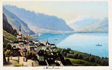 c1870 Montreux Genfer See Lac Leman Kolorierte Aquatinta-Ansicht Dikenmann