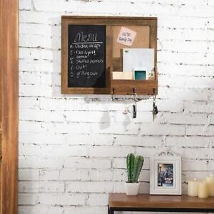 Vintage Brown Wall-Mounted Wood Chalkboard w/ Cork Board, Mail Holder, Key Hooks