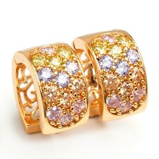 Fashion Gold Plated Hoop Earrings Colorful Cubic Zircon Inlay Jewelry Ear Stud