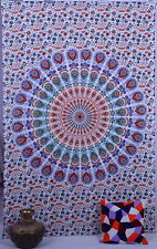 Indian Mandala Wall Hanging White Tapestry Table Cloth Throw Ethnic Wall Decor