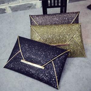 Women Glitter Sequins Handbag Party Evening Envelope Clutch Bag Wallet Purse SG