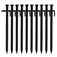 10 Pcs Heavy Duty Black Steel Metal Tent Nail Camping Stakes Pegs Ground J6S1