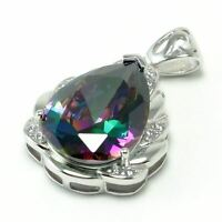 34ct Mystic Topaz Solid 925 Sterling Silver Gemstones Jewelry Necklace Pendant