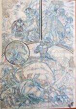 PAGINA ORIGINAL BOCETO SKETCH : KING KONG  GODZILLA COMIC ART PAGE ROGER BONET