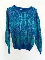 Vtg Blue Moore Jersey Abstract Pattern 80% Acrylic 20% Nylon Size M Made Korea